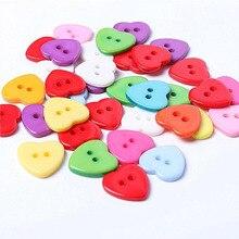 100 шт в форме сердца смолы кнопки для шитья скрапбукинга пластиковые защелки 2 отверстия кнопки аксессуары для одежды 10 мм смешанные цвета