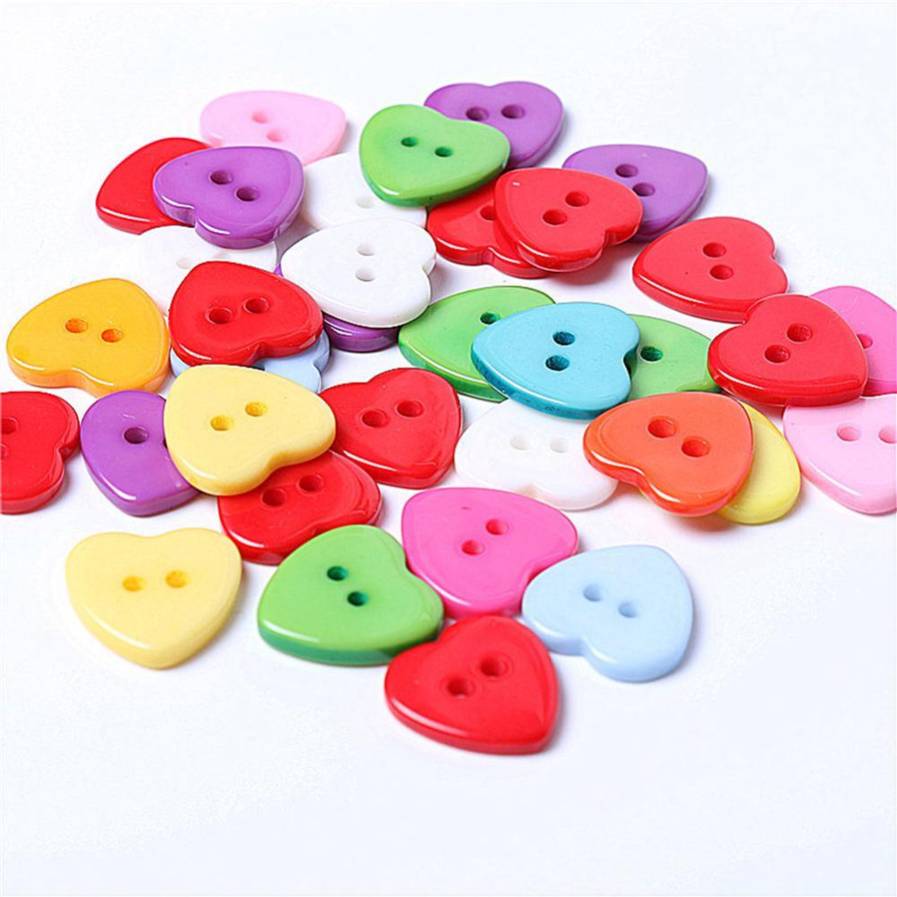 100PCs Heart Shape Resin <font><b>Buttons</b></font> Sewing Scrapbooking Plastic Snaps 2 Holes <font><b>Button</b></font> Garment Accessories <font><b>10mm</b></font> Mixed Colors image