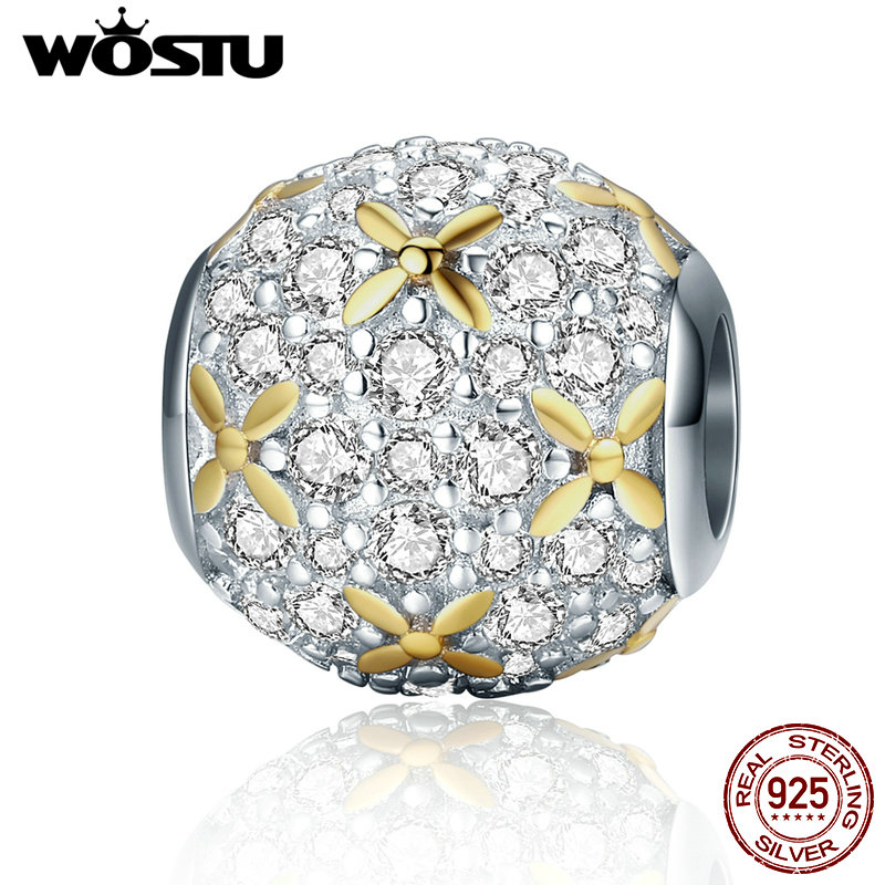 WOSTU Luxury 925 Sterling Silver Dazzling Golden Flowers Beads Fit Original Pandora Charm Bracelet DIY Jewelry