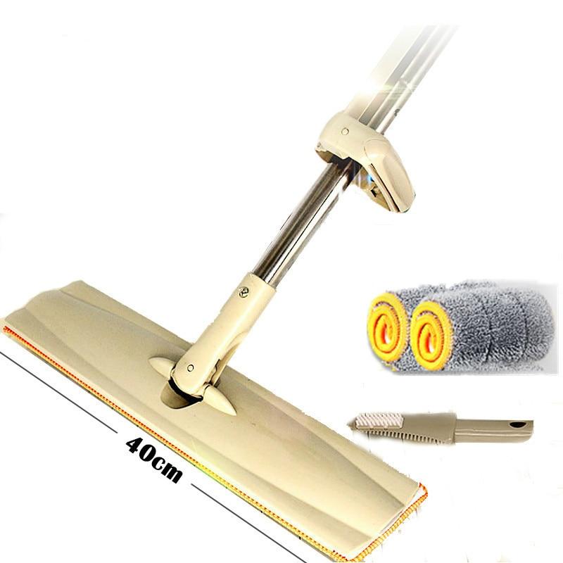Mop piano Raschietto Lavaggio Auto-strizzare 40 cm In Microfibra Spazzatrice Pavimento Ruotare Strofinare Legno Affidato Pigro Househeld Tampone