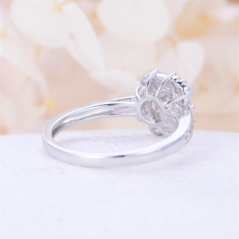 Huitan Silver Plated Wedding Ring Women Dreaming Wedding Ring Band Brilliant Crystal Stone Setting Engagement Ring For Women in Engagement Rings from Jewelry Accessories