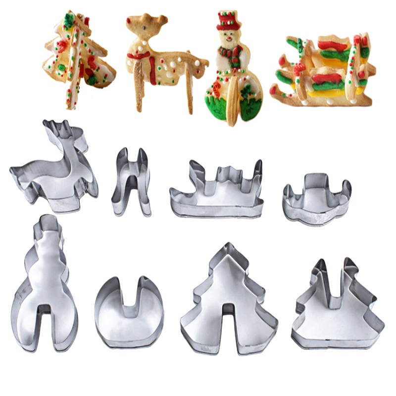8Pcs Stainless Steel 3D Christmas Cake Cookie Cutters Molds Set DIY Baking Tools Cake Baking Supplies Happy Baking