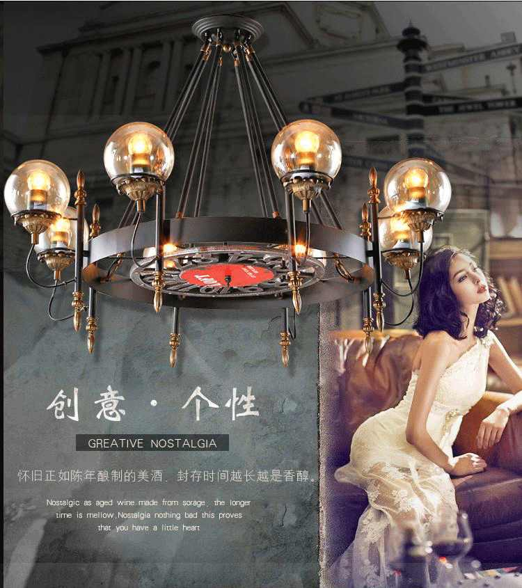 Американская люстра в ретро стиле из кованого железа, творческая Люстра для ресторана, кафе, бара, стеклянная люстра со светодиодной лампой