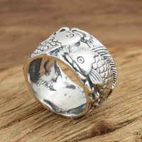 silver jewelry handmade Vintage S925 Mens Ring personality Pisces