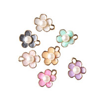 Newest Mini Order 20PCS 12 14MM White Pearl Core Oil Drop Metal Jewelry Flowers Gold Tone