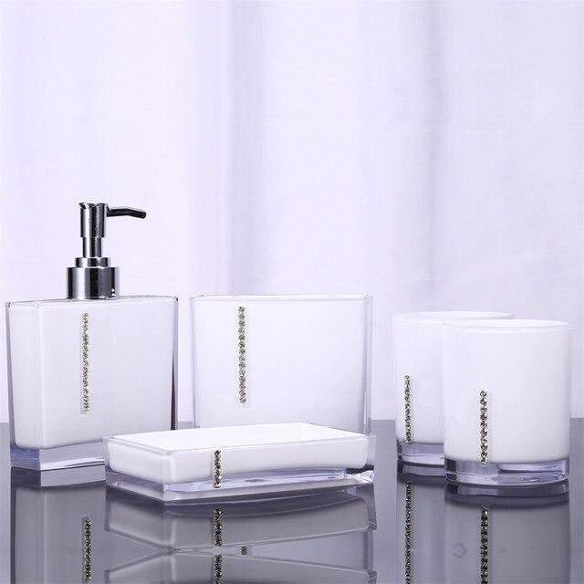 5 Stks/set Acryl Badkamer Set Accessoires Hand Zeepbakje Dispenser ...