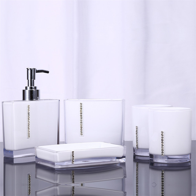 5Pcs/Set Acrylic Bathroom Set Accessories Hand Soap Dish Dispenser Tumbler  Toothbrush Holder Bathroom Home
