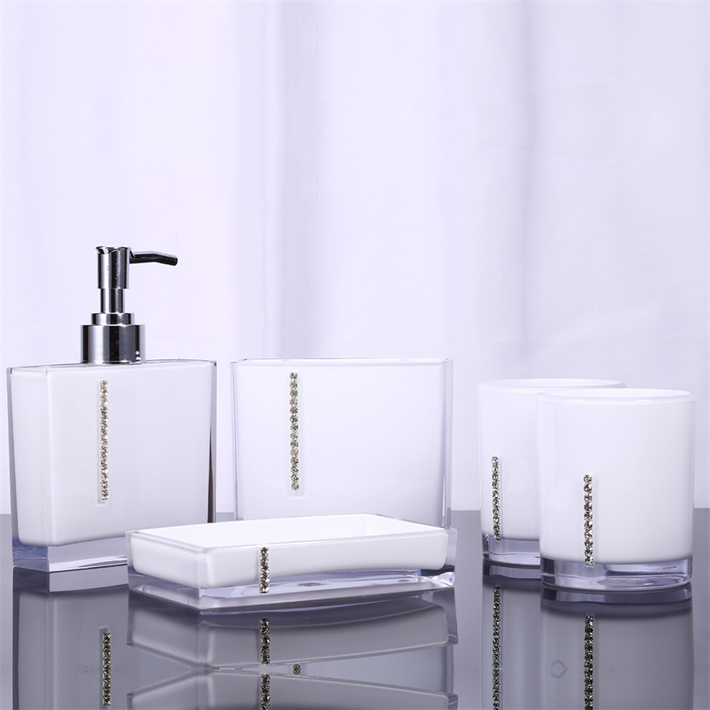 5pcsset acrylic bathroom set accessories hand soap dish dispenser tumbler toothbrush holder bathroom home decorate