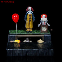 It Pennywise figure PVC collectible model Action figure Classic sewer scene Pennywise model Horror Movie fans collections HC60