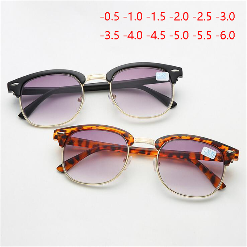 -0.5 -1 -1.5 -2 -2.5 -3 -3.5 -4 -4.5 -6 Half Frame Finished Myopia Sunglasses Men Women Retro Myopia Eyeglasses Light Gray Lens