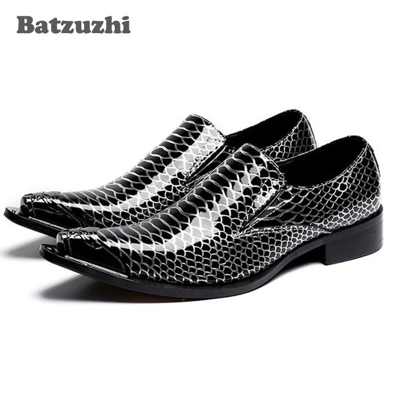 Batzuzhi Brand Men Shoes Black Patent Leather Men Oxfords with Metal Tip Banquet and Prom Men Dress Shoes Office Suit Business