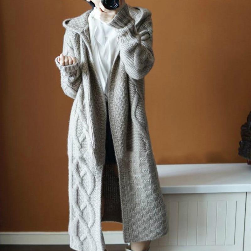 New Women Autumn Hooded Split Slim Cardigan Long Sleeve Loose Asymmetric Batwing Pocket Thicken Cardigan Women Sweaters