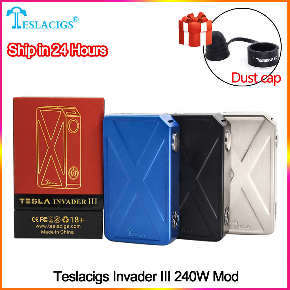 Original teslacigs Tesla Invader 3 III 240W Box Mod Invader 3 vape Mod for 510 Thread Electronic cigarette Mod vape with Sticker