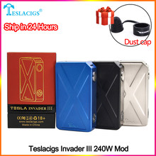 Original teslacigs Tesla Invader 3 III 240W Box Mod Invader 3 vape Mod for 510 Thread Electronic cigarette Mod vape(China)