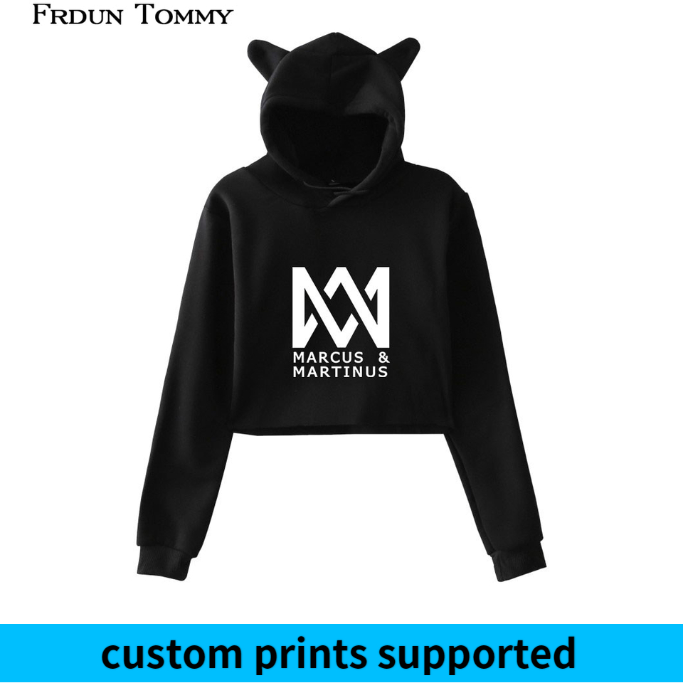 Marcus & Martinus Cat Ear Hoodies Sweatshirt Cuit Kpop Geometric Pattern Casual Women Autumn Soft Sweatshirt Custom