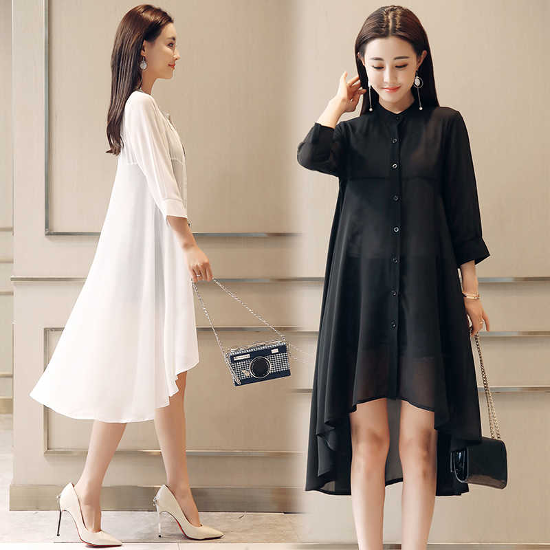 קיץ שיפון חולצה נשים צווארון עומד רופף צמרות חולצות בתוספת גודל שיפון קימונו קרדיגן boho שחור לבן חולצות 4534 50