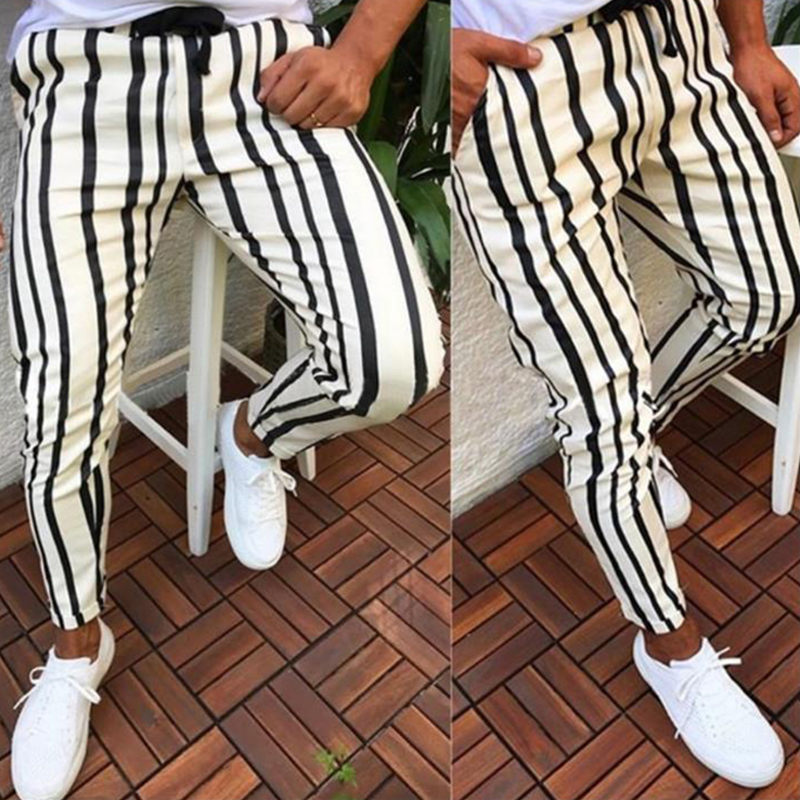 Man Pants Track-Trousers Pockets-Workout Bottom Slim-Fit Hip-Hop Mens Skinny Stripe Casual