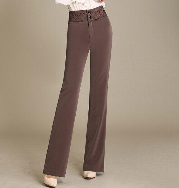 bfd249c3c711 € 40.25 |Pantalones rectos de cintura alta para mujeres negro rojo marrón  bordado Pantalones mujer OL nueva moda Primavera otoño talla grande ...