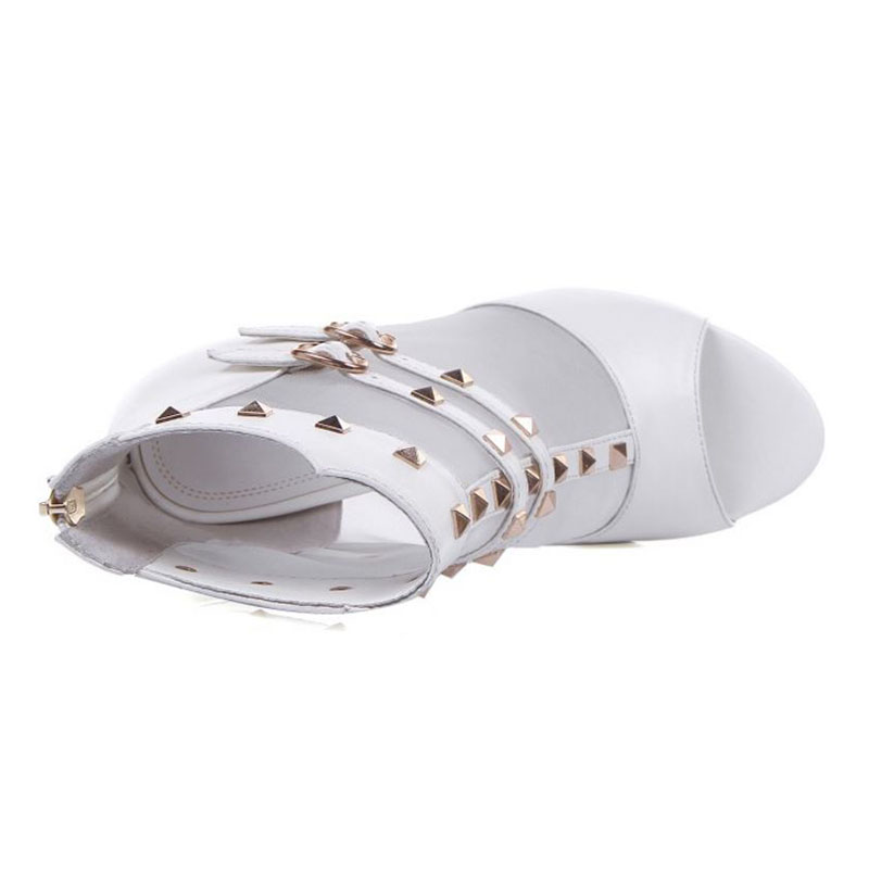 Hauts Chaussures Véritable À Club Blanc Taille Bout Coolcept 34 Femmes Et Ouvert Talons Rivers Sandales 39 2019 Party Cuir Maille Sexy En Qdshrt