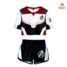 Endgame Avengers 4 XintComic 2019 new  Final Battle Quantum Warrior 3d Short Sleeve T-Shirt Shorts Set Marvel Cosplay Costume
