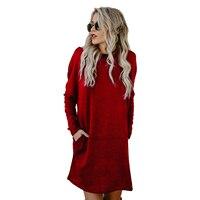 TFGS Women Spring Autumn Casual Women Mini Dress Loose O Neck Long Sleeve Pockets Streetwear Women