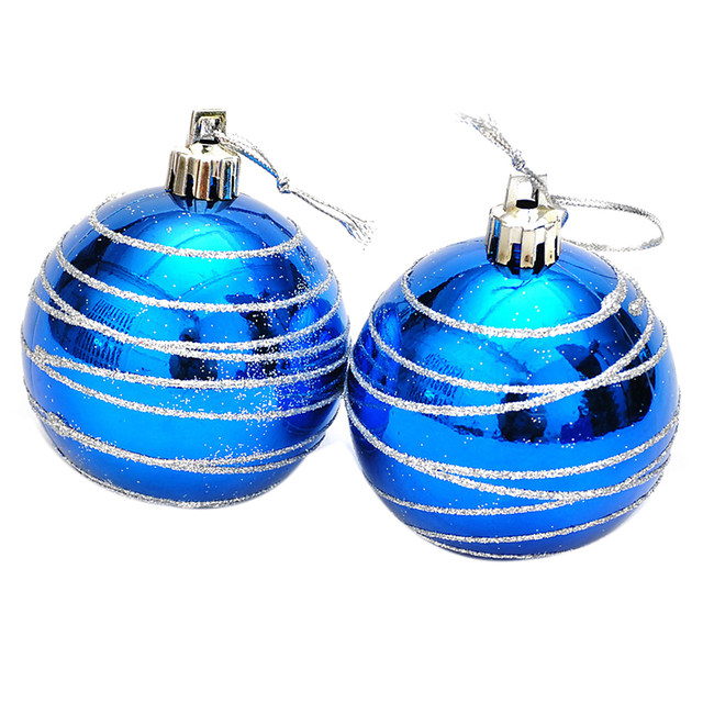 6pcs Christmas Tree Balls Blue Diameter 6cm Striped Color Drawing Decorations Ball Xmas Party Wedding Ornament 8