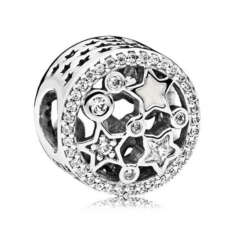 Fit Original Pandora Charms Silber Armband Schmuckstück Schmuck Für Frauen Neue Einfachen Stil der Großen Ball Sterne Kristall Blumen DIY Bead