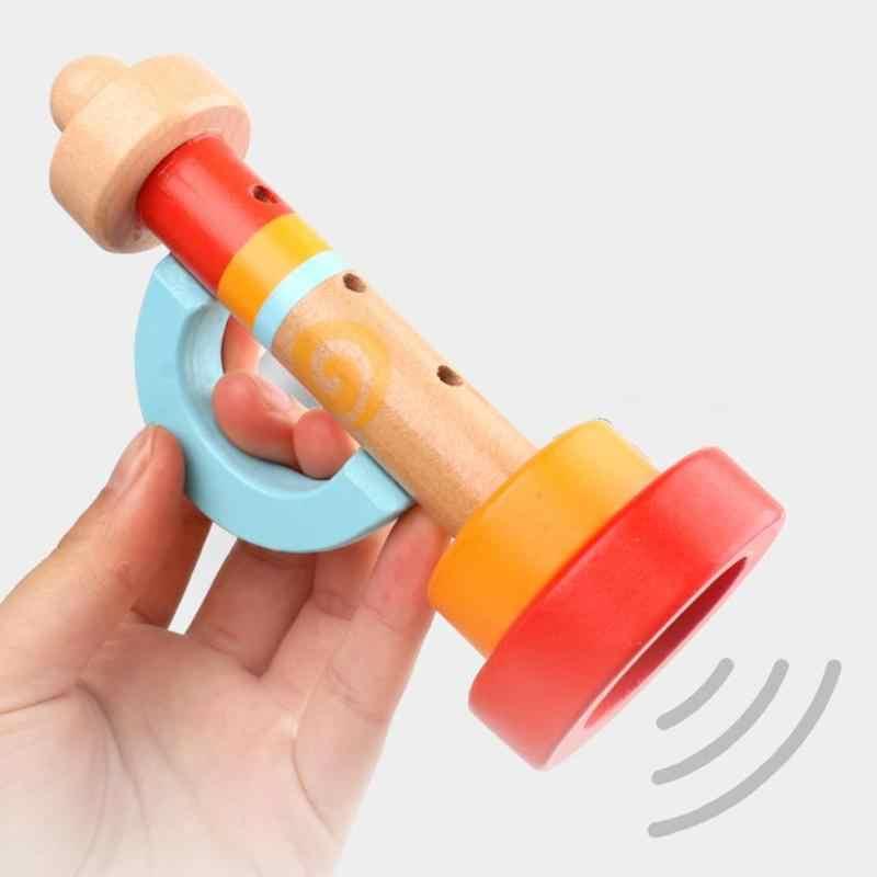 Bambino di Legno Verticale Fischietti Tromba Giocattoli Per Bambini Montessori Portatili Per Bambini Strumento Musicale Giocattoli Educativi Regali
