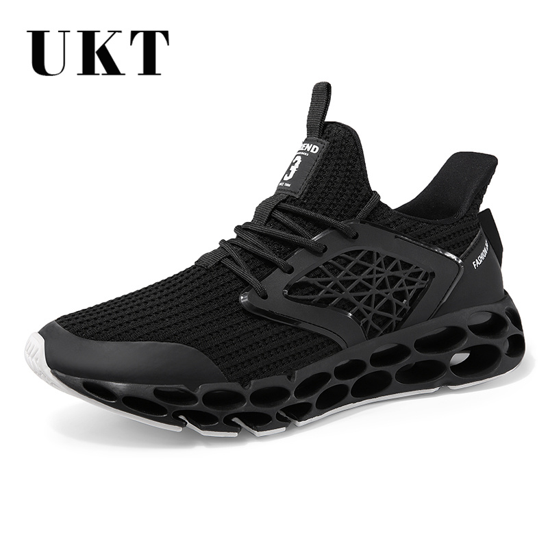 UKT Brand 2018 Cushioning Running Shoes Men Spring and Autumn Mesh PU Leather Light Lace Up