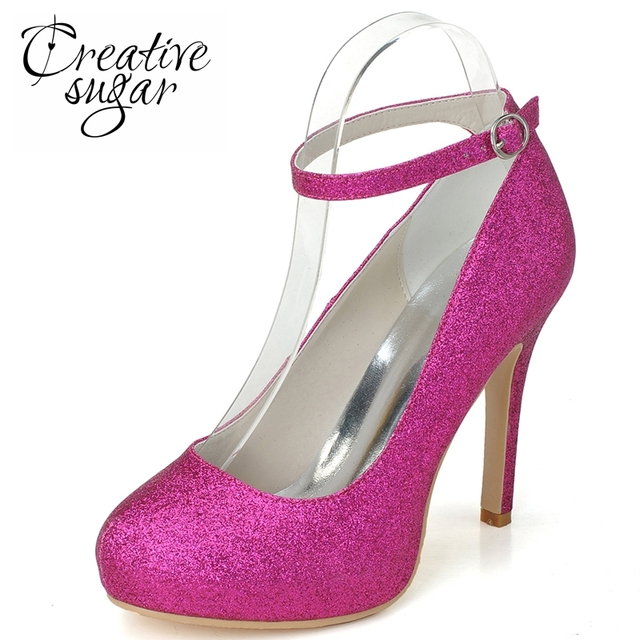 6ea98d74e097 Creativesugar Sparkle woman glitter hotpink blue ankle strap high heels  party prom cocktail dress shoes night club platform pump