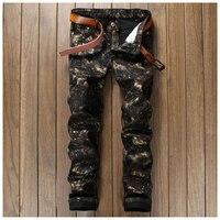 Tayt Sıska Bisikletçinin Kot Ince Baskılı Siyah Hip Hop Mens Jeans Jogger Hipster Tasarımcı Pantolon Casual Pantolon Marka Giyim