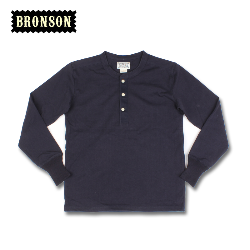Bronson Mens Long Sleeve Henley T-shirt Solid Color Thick 275 Gsm Cotton Tee