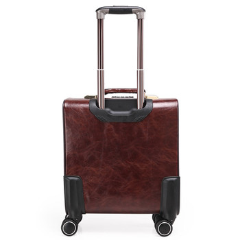 Coffee Leather Trolley Suitcase 1