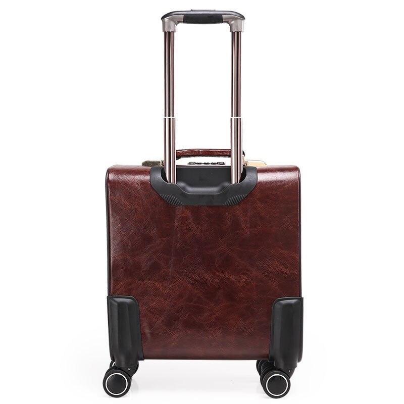 16 pouces café cuir Trolley fixation rétractable et mécanisme d'attache de sécurité hommes affaires valise à roulettes sac de voyage mala de viagem valiz-in Valises rigides from Baggages et sacs    2
