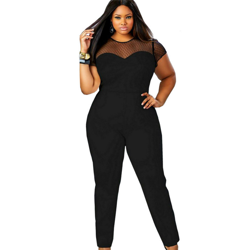 2017 Summer women Rompers Jumpsuit Sexy Casual Elegant mesh Long pants Plus Size 4xl 3xl Overalls silm office bodysuit macacao