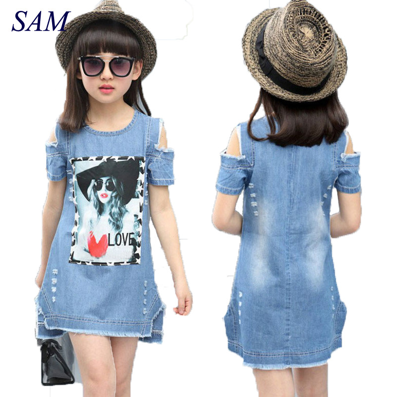 Children Dresses For Girls Denim Dress Summer Strapless Dress Pattern Girls Clothing Short Sleeve Child Clothes Denim T-Shirts тизерная сеть эквалайзер на заднее стекло