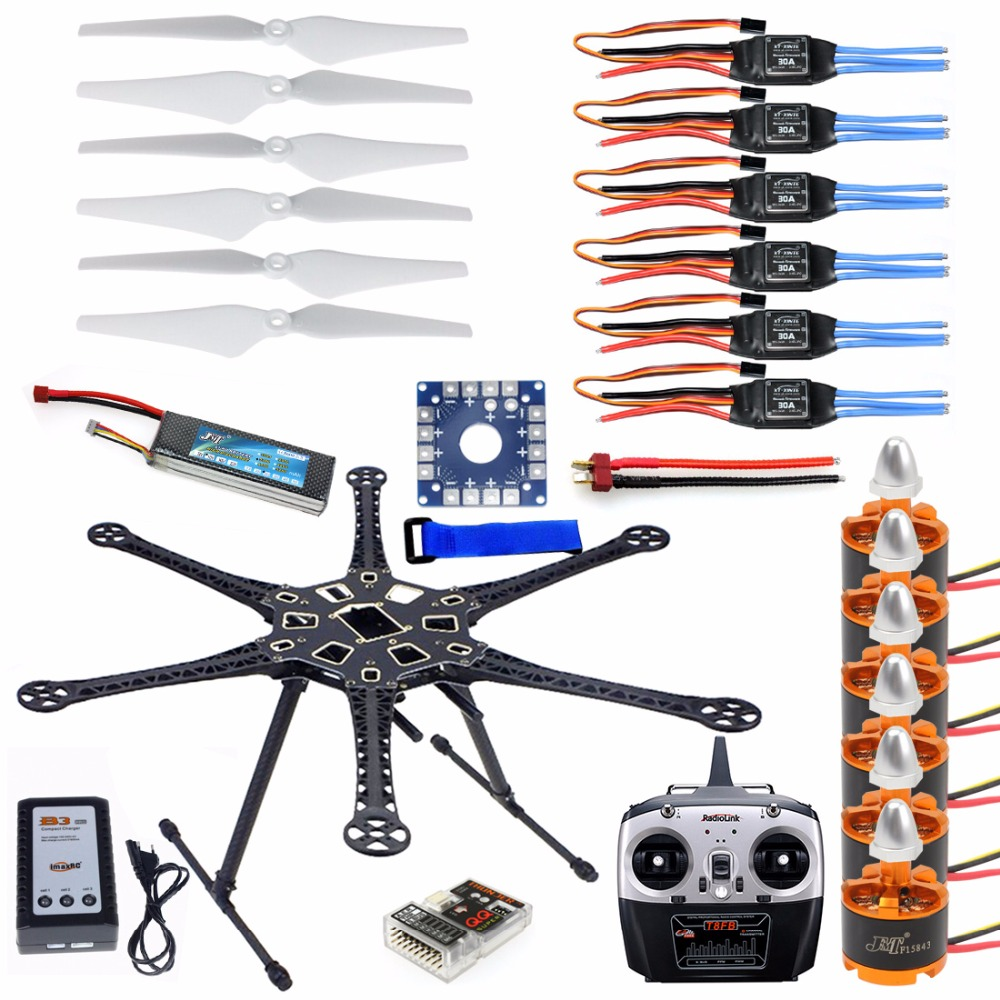 2c8df5cc8a4 HMF S550 F550 Hexacopter 6-Axle Frame Kit with Landing Gear +ESC Motor  Welded+QQ SUPER Control Board+8CH RX TX+Propellers