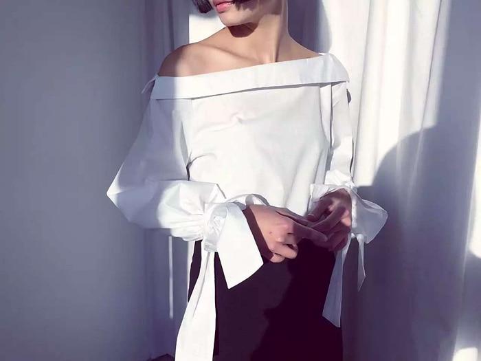 Women's 2020 winter sweet slit neckline shirt female wg S030