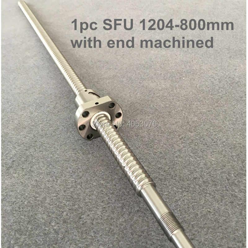 Vite a sfere SFU1204 800mm vite a sfera con flangia singolo dado palla BK/BF10 fine lavorazione CNC parti