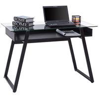 Giantex современный Стекло Топ компьютерный стол портативных ПК стол письменный Исследование рабочей станции с деревянная полка Офисная мебе