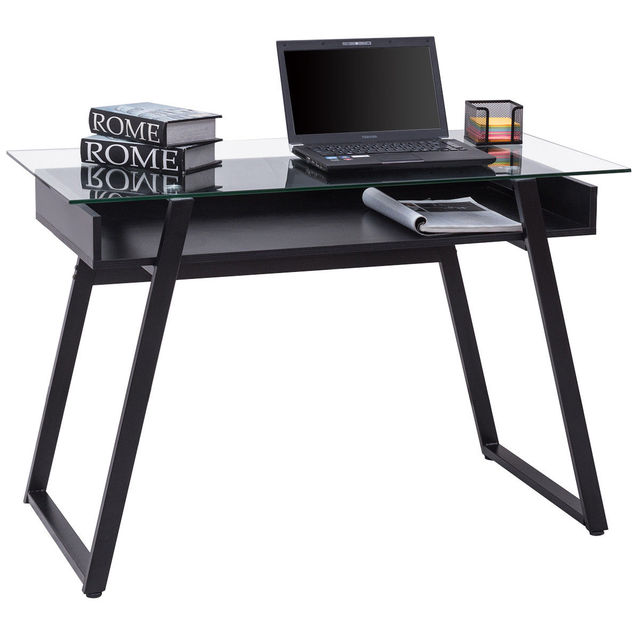 Giantex Modern Glass Top Computer Desk PC Laptop Table Writing Study  Workstation With Wood Shelf Home