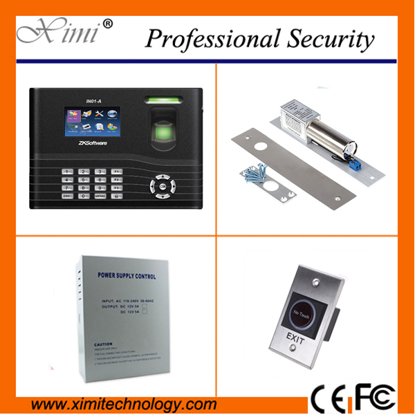 Biometric fingerprint access control system kit with exit button,power supply,180/28kg magnetic lock access control set biometric fingerprint access controller tcp ip fingerprint door access control reader