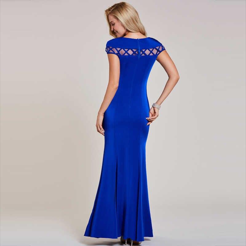 Dressv ciemna królewska niebieska suknia wieczorowa tanie syrenka krótkie rękawy z wycięciem wesele formalne trąbka suknie wieczorowe