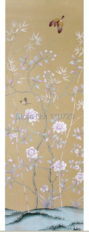 цены Hand-painted silk wallpaper painting flower with bird silk sticker many pictures optional