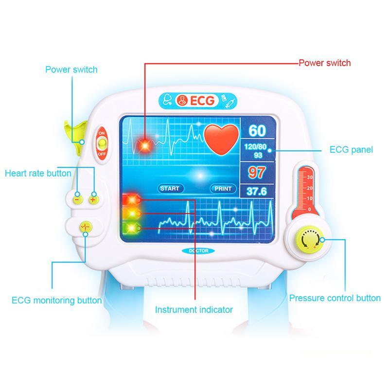 Simulazione Elettrica Elettrocardiogramma Medico Kit Giochi di imitazione Stetoscopio Scatola della Medicina Set Giocattolo Trolley Per I Bambini Nuovo