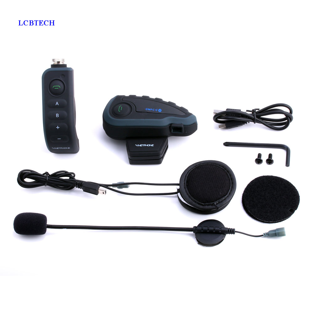 EJEAS V8 Wireless Bike Helmet Headphone Intercom NFC Bluetooth Remote Control 5 Person Moto Bluetooth Headset