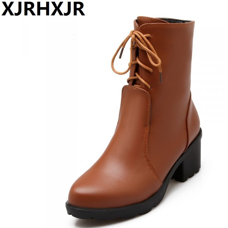 XJRHXJR Autumn Winter New Mid-calf Ladies Boots Fashion Cross Straps Women Thick Heel Round Toe Riding Boots 3Colors Size 33- new fashion superstar brand winter shoes embroidery snow boots tassel women mid calf boots thick heel causal motorcycles boots