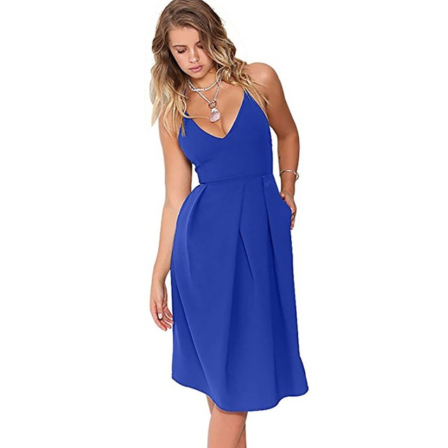 d13bb47ebc7 Little Black Red Strappy Sexy Backless Summer Dresses knee length Dresses A Line  V Neck Blue Simply Sundress Women Clothes 2018