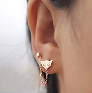 2017 New Double Pierced Ears Small Fox Color Gold Rose Earrings Korean Fashionable Me 285 In Stud From Jewelry Accessories