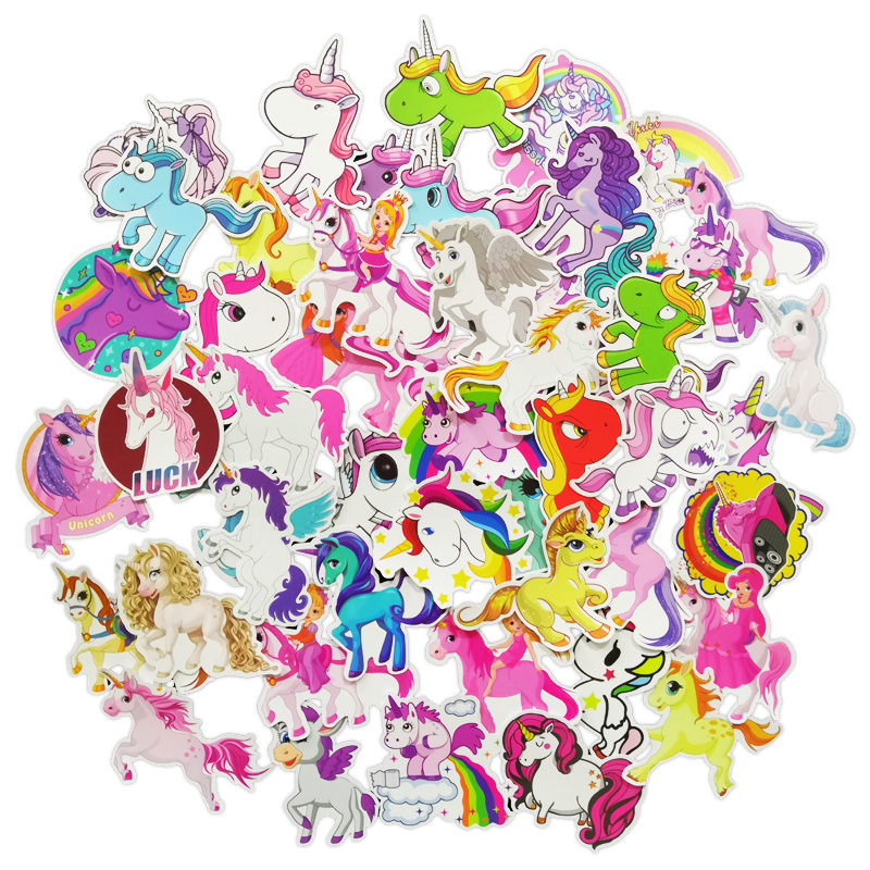 50 Pcs Unicorn Girls And Baby Children's Board Car Cute Computer Guitar Decorative Panel Waterproof Suitcase Stickers